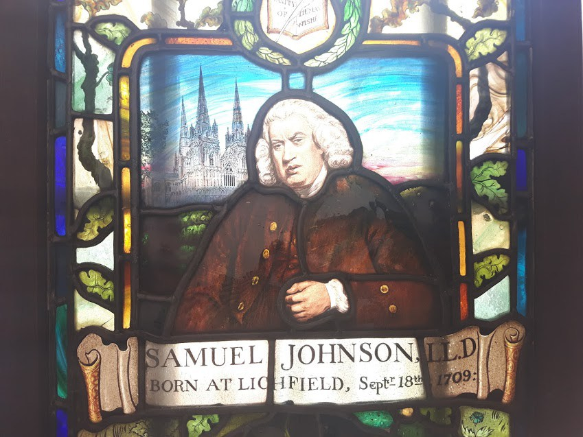 samuel johnson, dr. johnson, stained glass, literature, england, london